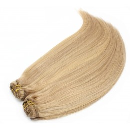 28 inch (70cm) Deluxe clip in human REMY hair - light blonde / natural blonde