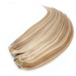 28 inch (70cm) Deluxe clip in human REMY hair - mixed blonde