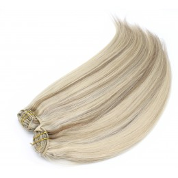 28 inch (70cm) Deluxe clip in human REMY hair - platinum / light brown