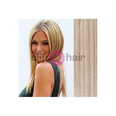 Clip in human hair Remy - platinum light brown - 20 inch (50cm ... 588d7d655e8