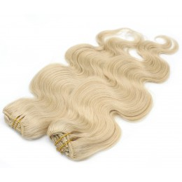 20 inch (50cm) Deluxe wavy clip in human REMY hair - the lightest blonde