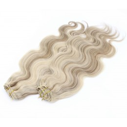 20 inch (50cm) Deluxe wavy clip in human REMY hair - platinum/light brown