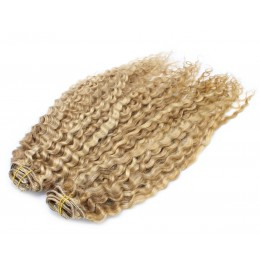 20 inch (50cm) Deluxe curly clip in human REMY hair - light blonde/natural blonde