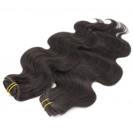 20 inch (50cm) Deluxe wavy clip in human REMY hair - natural black