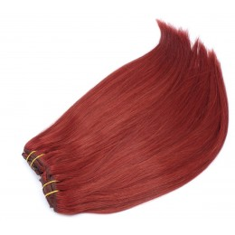 28 inch (70cm) Deluxe clip in human REMY hair - copper red