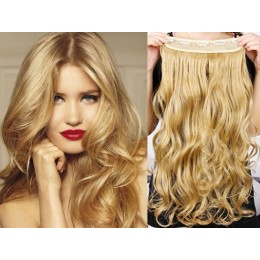 One piece full head 5 clips clip in hair weft extensions wavy – natural blonde