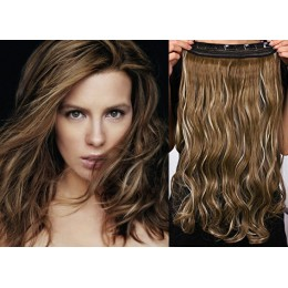 One piece full head 5 clips clip in hair weft extensions wavy – dark brown / blonde