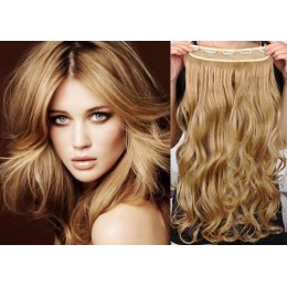 One piece full head 5 clips clip in hair weft extensions wavy – light blonde / natural blonde