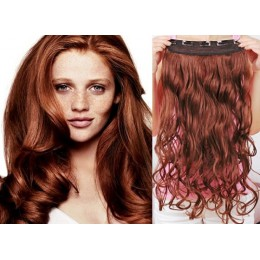 One piece full head 5 clips clip in hair weft extensions wavy – copper red