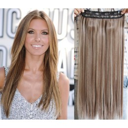 20 inches one piece full head 5 clips clip in hair weft extensions straight – dark brown / blonde