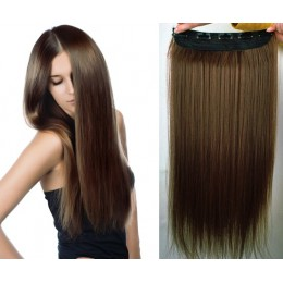 24 inches one piece full head 5 clips clip in hair weft extensions straight – dark brown