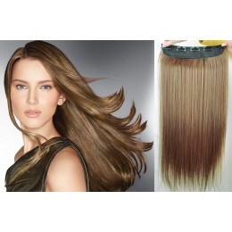 24 inches one piece full head 5 clips clip in hair weft extensions straight – medium brown
