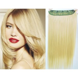24 inches one piece full head 5 clips clip in hair weft extensions straight – natural blonde