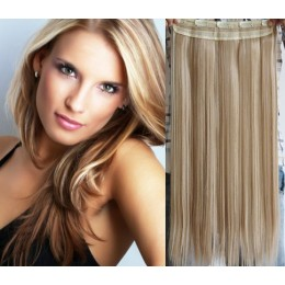24 inches one piece full head 5 clips clip in hair weft extensions straight – light blonde / natural blonde