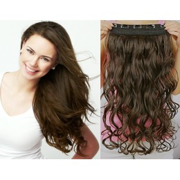 20 inches one piece full head 5 clips clip in hair weft extensions wavy – natural black