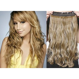 24 inches one piece full head 5 clips clip in hair weft extensions wavy – dark brown / blonde