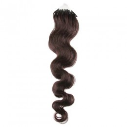 20 inch (50cm) Micro ring / easy ring human hair extensions wavy - dark brown