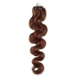 20 inch (50cm) Micro ring / easy ring human hair extensions wavy - medium light brown