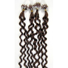 20 inch (50cm) Micro ring / easy ring human hair extensions curly - medium brown
