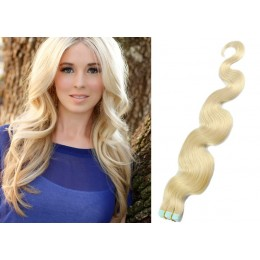 20 inch (50cm) Tape Hair / Tape IN human REMY hair wavy - platinum