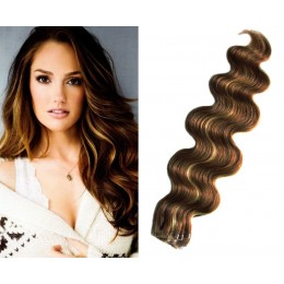 20 inch (50cm) Tape Hair / Tape IN human REMY hair wavy - dark brown / blonde