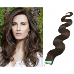24 inch (60cm) Tape Hair / Tape IN human REMY hair wavy - dark brown