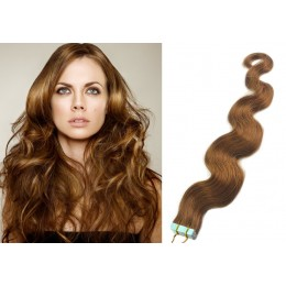 24 inch (60cm) Tape Hair / Tape IN human REMY hair wavy - light brown