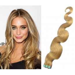 24 inch (60cm) Tape Hair / Tape IN human REMY hair wavy - natural blonde