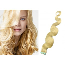 24 inch (60cm) Tape Hair / Tape IN human REMY hair wavy - the lightest blonde