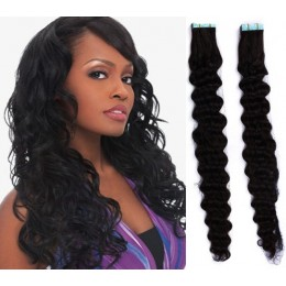 20 inch (50cm) Tape Hair / Tape IN human REMY hair curly - black
