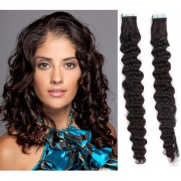 20 inch (50cm) Tape Hair / Tape IN human REMY hair curly - natural black