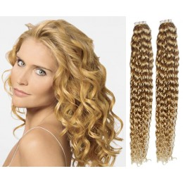 20 inch (50cm) Tape Hair / Tape IN human REMY hair curly - natural blonde