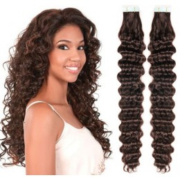 24 inch (60cm) Tape Hair / Tape IN human REMY hair curly - dark brown