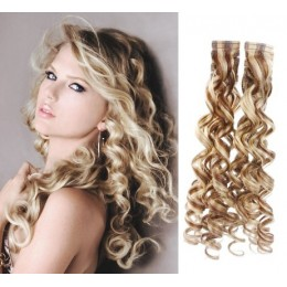 24 inch (60cm) Tape Hair / Tape IN human REMY hair curly - platinum / light brown
