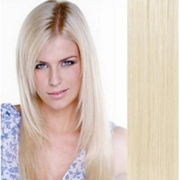 16 inch (40cm) Clip in human hair 100g - platinum blonde