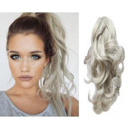 Clip in ponytail wrap / braid hair extensions 24 inch curly - silver