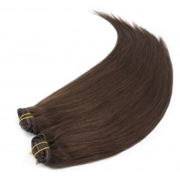 24 inch (60cm) Deluxe clip in human REMY hair - dark brown